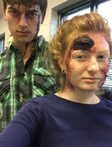 Shelby Handley and Matt Propst in their injury makeup after the mock crash