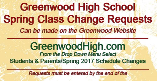 Get Your Spring Class Changes in Now!