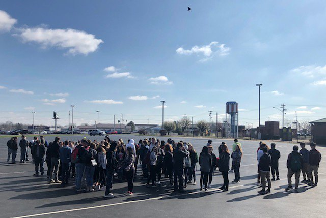 Greenwood students stand outside in protest. (Photo credit to Mr. Davis)
