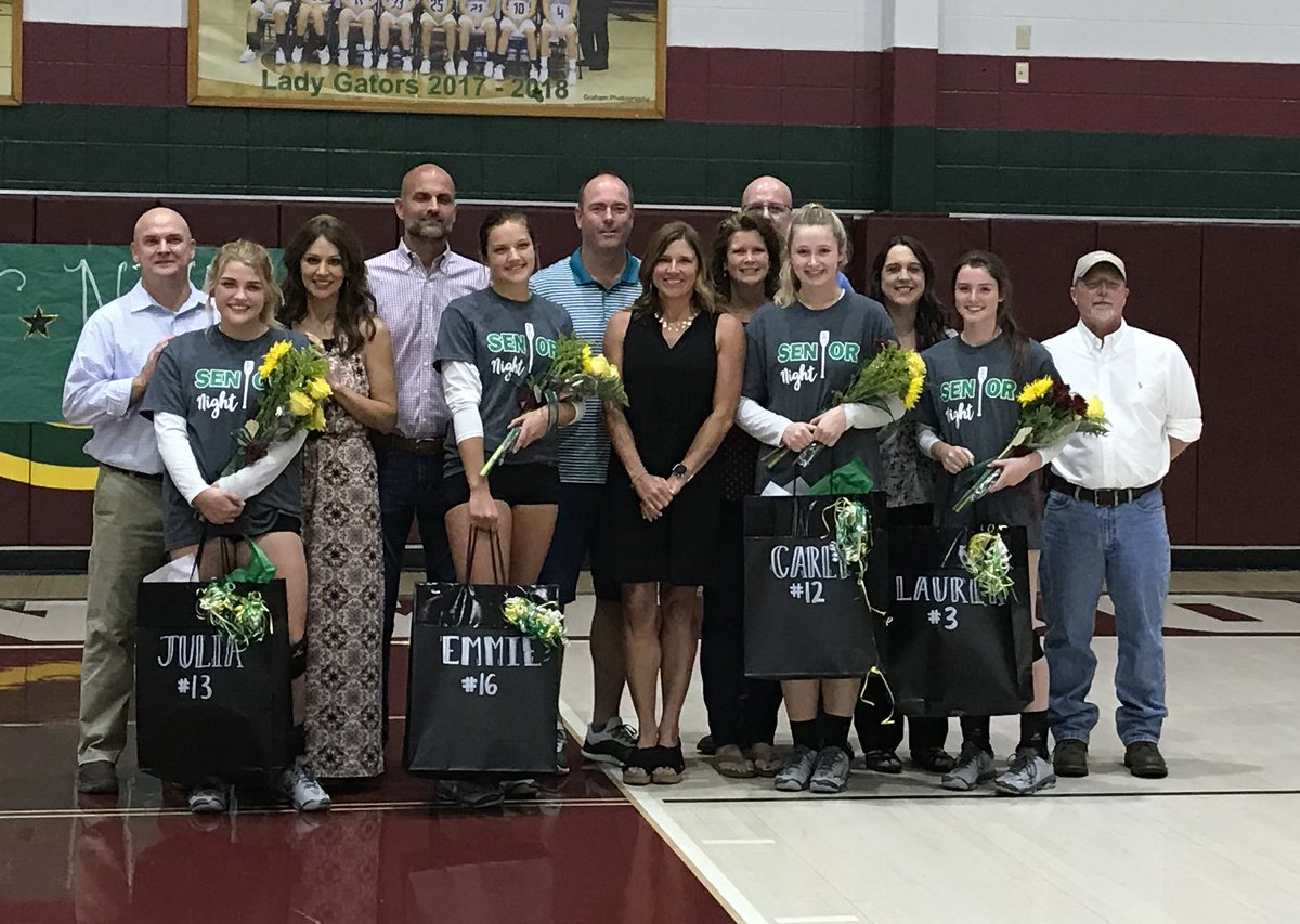 Greenwood volleyball seniors are recognized Monday night before their game against Bowling Green High School. (Photo via Melanie Llontop on Twitter)