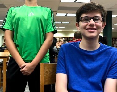 Sebastian Alfaya (left) and Carson Miller (right) meet in the library every morning before class to socialize with one another.