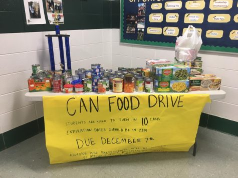GHS students/faculty are filling up the table, supporting the Can Food Drive.