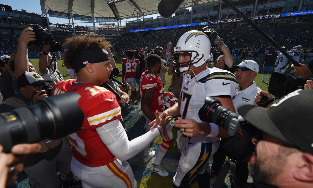 CARSON, CA - SEPTEMBER 09: Quartebacks Patrick Mahomes #15 of the Kansas City Chiefs and Philip Rivers #17 of the Los Angeles Chargers shake hands after the game at StubHub Center on September 9, 2018 in Carson, California. (Photo by Kevork Djansezian/Getty Images)