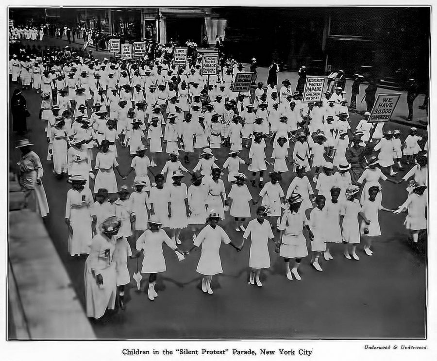 Silent Parade Protest in 1917 for racial justice consisting of 10,000 African Americans