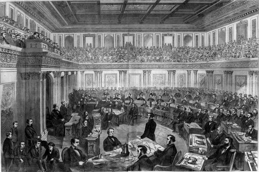 Illustration of president Andrew Johnson's impeachment trial, from the political journal