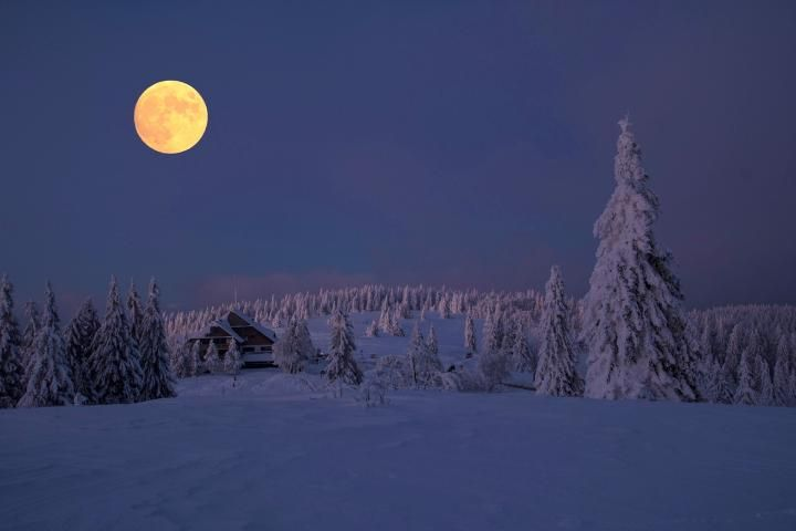 The Snow Moon appears every February when the Earth and moon are closest in orbit.