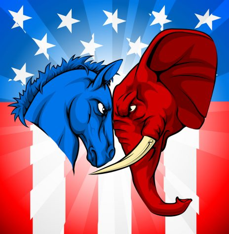 American politics or election debates concept with animal mascots of the democrat and republican political parties. Donkey and elephant facing off.